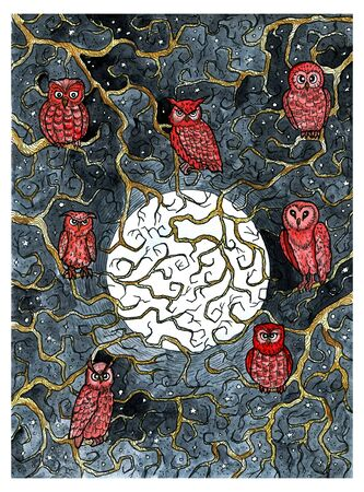 Owl birds sitting on tree branches against full moon at starry night. Colorful graphic engraved illustration. Fantasy and mystic drawing. Gothic, occult and esoteric background for Halloween Stock Photo