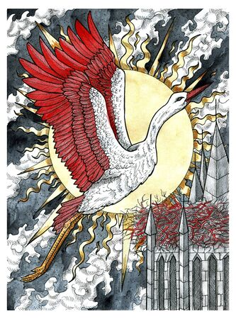 Beautiful stork bird flying against tower with nest and rising sun.  Colorful graphic engraved illustration. Fantasy and mystic drawing. Gothic, occult and esoteric background for Halloween Archivio Fotografico - 132187083