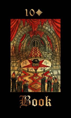 Book card of Lenormand oracle deck Gothic Mysteries with hand drawn cartoon illustration.