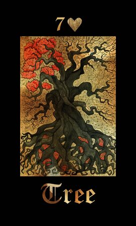 Old tree card of Lenormand oracle deck Gothic Mysteries with hand drawn cartoon illustration.