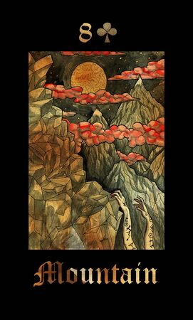 Mountain card of Lenormand oracle deck Gothic Mysteries with hand drawn cartoon illustration. Reklamní fotografie