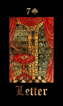 Letter card of Lenormand oracle deck Gothic Mysteries with hand drawn cartoon illustration.