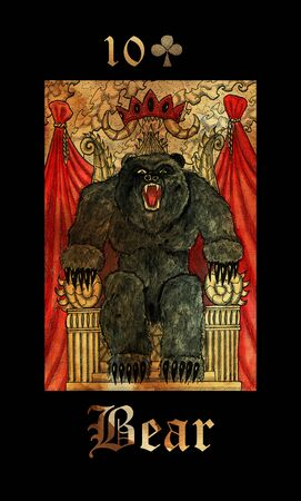 Bear card of Lenormand oracle deck Gothic Mysteries with hand drawn cartoon illustration.