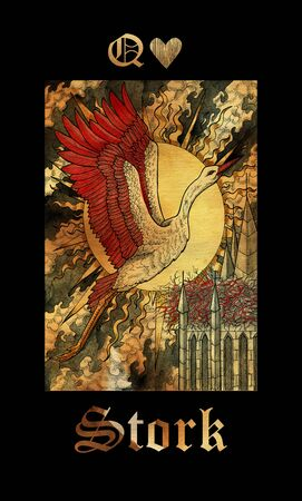 Stork card of Lenormand oracle deck Gothic Mysteries with hand drawn cartoon illustration.