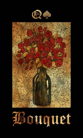 Bouquet card of Lenormand oracle deck Gothic Mysteries with hand drawn cartoon illustration.
