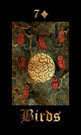 Birds or Owls card of Lenormand oracle deck Gothic Mysteries with hand drawn cartoon illustration.