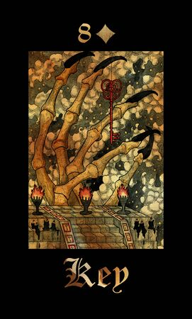 Key card of Lenormand oracle deck Gothic Mysteries with hand drawn cartoon illustration.