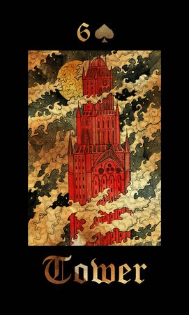 Tower card of Lenormand oracle deck Gothic Mysteries with hand drawn cartoon illustration.