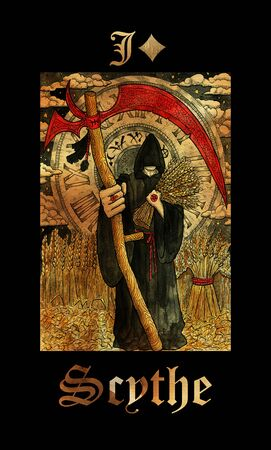Scythe card of Lenormand oracle deck Gothic Mysteries with hand drawn cartoon illustration.