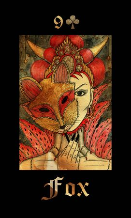 Fox card of Lenormand oracle deck Gothic Mysteries with hand drawn cartoon illustration.