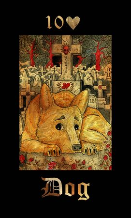 Dog card of Lenormand oracle deck Gothic Mysteries with hand drawn cartoon illustration. Reklamní fotografie