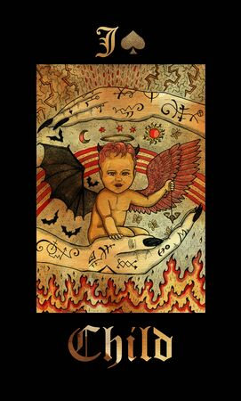 Child card of Lenormand oracle deck Gothic Mysteries with hand drawn cartoon illustration.