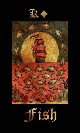Fish card of Lenormand oracle deck Gothic Mysteries with hand drawn cartoon illustration.