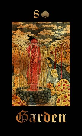 Garden card of Lenormand oracle deck Gothic Mysteries with hand drawn cartoon illustration.