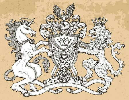 Heraldic emblem with unicorn and fairy lion beast on texture background. Hand drawn engraved illustration with mythology and fantasy creatures, medieval coat of arms, design tattoo and concept