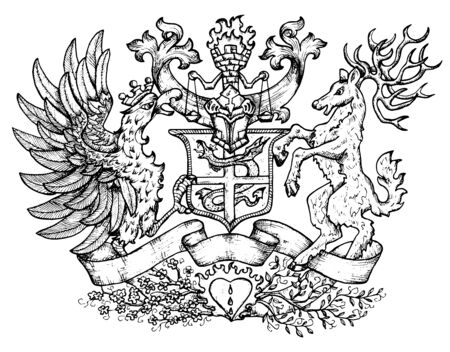 Emblema araldico con uccello gallo fata e cervo con grandi corna. Illustrazione incisa disegnata a mano con mitologia e creature fantastiche, stemma medievale, tatuaggio di design e concept Vettoriali