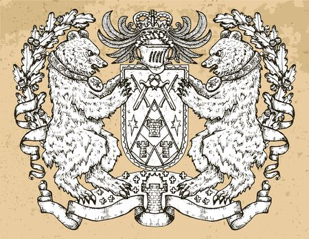 Heraldic emblem with bear beast holding shield on texture background. Hand drawn engraved illustration with mythology and fantasy creatures, medieval coat of arms, design tattoo and concept