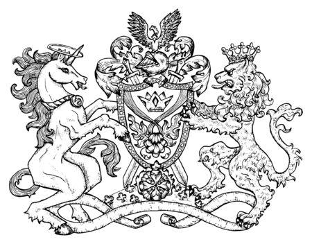 Heraldisches Emblem mit Einhorn und feenhaftem Löwentier auf weiß, Strichzeichnungen. Handgezeichnete gravierte Illustration mit Mythologie und Fantasy-Kreaturen, mittelalterlichem Wappen, Design-Tattoo und Konzept
