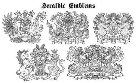 Design set with heraldic emblems and fairy creatures isolated on white. Hand drawn engraved illustration with mythology and fantasy animals, medieval coat of arms Foto de archivo - 137546274