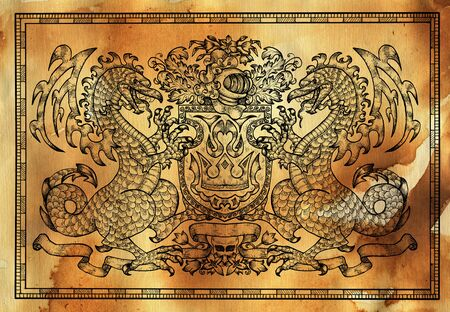 Heraldic drawing with dragon in frame against texture background. Hand drawn engraved illustration with mythology and fantasy creatures, medieval coat of arms Foto de archivo - 137546291