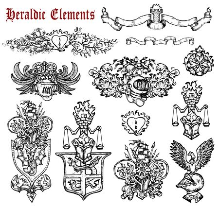 Design set with heraldic elements isolated on white. Hand drawn engraved illustration with mythology and fantasy creatures, medieval coat of arms Foto de archivo - 137546001