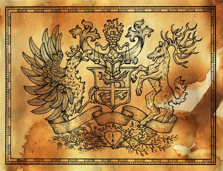 Heraldic drawing with deer and rooster bird on texture background. Hand drawn engraved illustration with mythology and fantasy creatures, medieval coat of arms Foto de archivo - 137546504