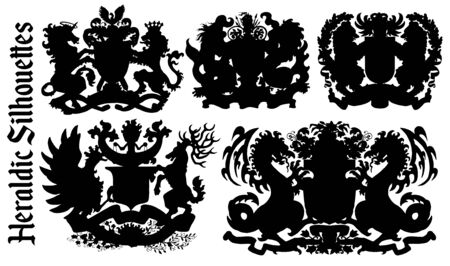 Design set with heraldic element silhouettes isolated on white. Hand drawn engraved illustration with mythology and fantasy creatures, medieval coat of arms Foto de archivo - 137546597