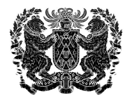Heraldic emblem with black silhouette of bear and shield on white. Hand drawn engraved illustration with mythology and fantasy creatures, medieval coat of arms