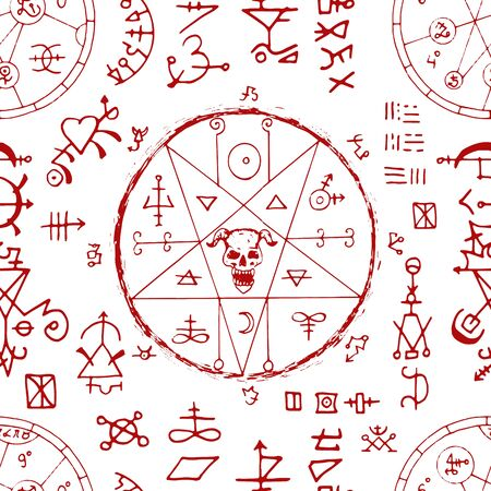 Seamless pattern with devil and alchemy signs, magic seals on white background. Esoteric and occult illustration with mystic and gothic symbols. No foreign language, all elements are fantasy.