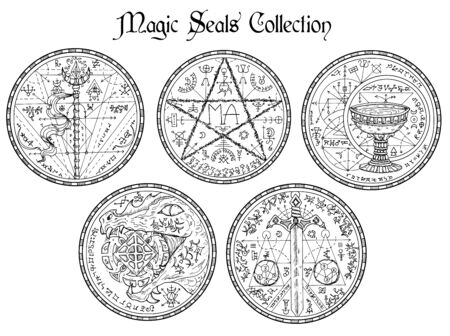 Design vector set with black and white magic seals and mystic symbols. Halloween line art illustration. Esoteric, occult and gothic background, fantasy tattoo and t-shirt print.