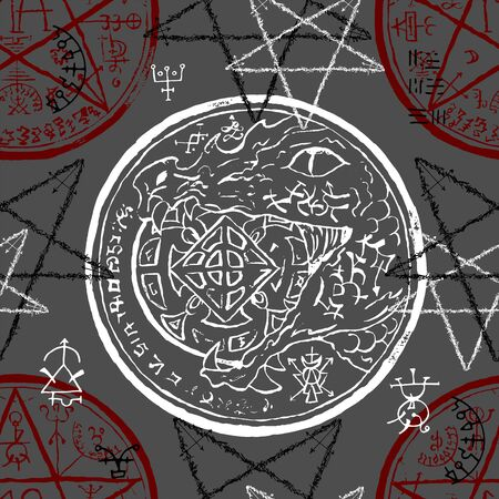 Seamless pattern with dragon holding coin, pentacle and mystic symbols. Halloween line art vector illustration. Esoteric, occult and gothic background