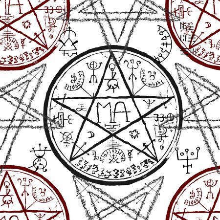 Seamless pattern with pentagram and mystic symbols on white.  Halloween line art vector illustration. Esoteric, occult and gothic background Vectores