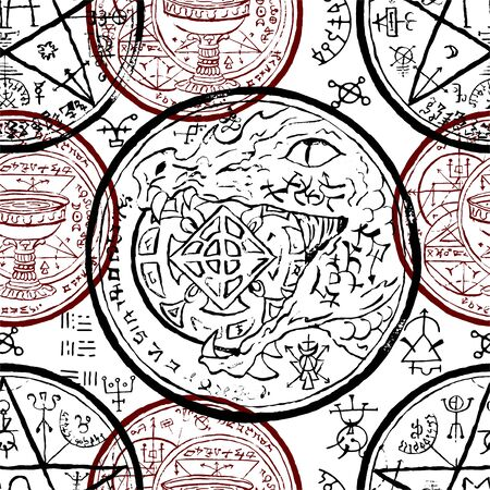 Seamless pattern with magic seals and mystic symbols on white. Halloween line art vector illustration. Esoteric, occult and gothic background Illustration