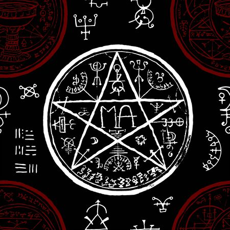 Seamless pattern with pentagram and mystic, fantasy symbols on black. Halloween line art vector illustration. Esoteric, occult and gothic background