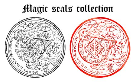 Design set of magic seals with snake holding pentacle coin and mystic symbols. Halloween line art illustration. Esoteric, occult and gothic background, fantasy tattoo and t-shirt print.