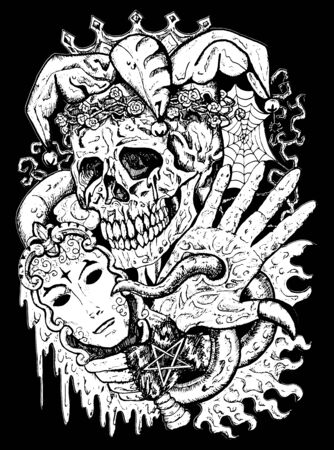 Fantasy joker skull with mask and tentacles. Esoteric, occult and gothic vector illustration with symbols of death, Halloween mystic background, engraved outline drawing, tattoo vintage print.
