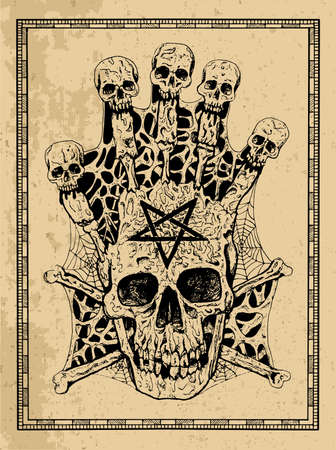 Evil skull with crossbones and pentagram in frame. Esoteric, occult and gothic vector illustration with symbols of death, Halloween mystic background, engraved outline drawing, tattoo vintage print Illusztráció