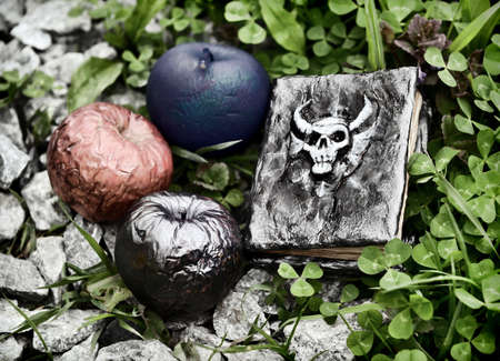Evil book with devil and poisonous apples in the grass for Halloween. Esoteric, gothic and occult background with magic objects, mystic and fairy tale concept