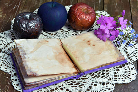 Poisonous magical apples and diary with empty pages on evil witch table. Esoteric, gothic and occult background with magic objects, mystic and fairy tale concept Stock fotó