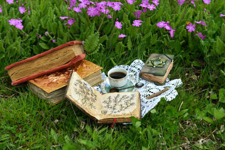 Still life with tea party and reading books in the garden. Esoteric, gothic and occult background with magic objects, mystic and fairy tale concept