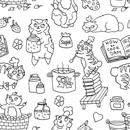 Seamless vector pattern with line art  bobtail cats cooking jam with kitchen objects. Cute hand drawn illustration, black and white drawings with funny animals on white background.