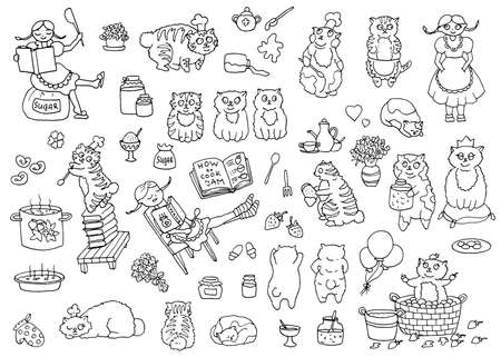 Vector set of adorable characters and mascots, pretty girl and bobtail cats the cooks, kitchen objects. Cute illustrations, black and white hand drawn collection for funny scene creator with clip art design elements on white background. 向量圖像