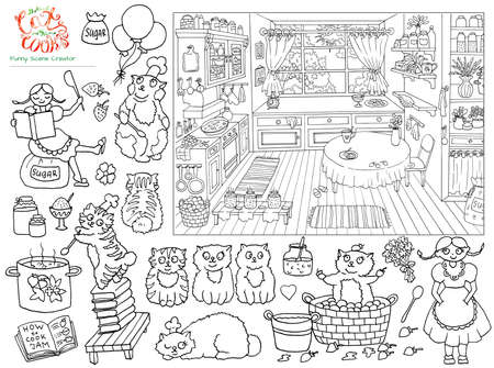Collection with black and white hand drawn illustration of vintage kitchen sketch, pretty girl and funny bobtail cats helping cook jam, funny scene creator, graphic vintage background, line art drawing for coloring book 版權商用圖片