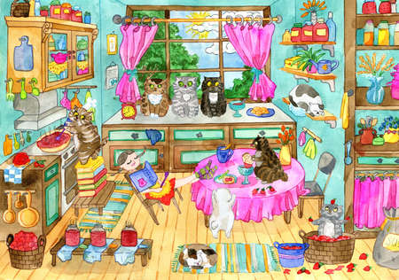 Cute hand drawn illustration with vintage country kitchen, sleeping pretty girl and many bobtail cats helping cook jam, funny scene creator, graphic vintage background with animals, watercolor drawing