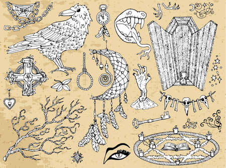 Set of scary Halloween traditional symbols and objects with crow, coffin, pentagram and dreamcatcher. Hand drawn vector illustration for coloring. Doodle clip art collection
