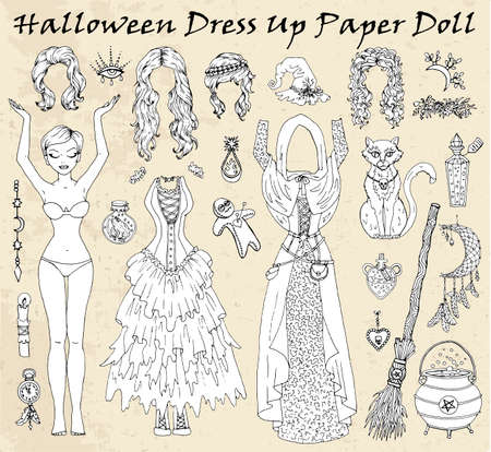 Set of dress up paper doll with Halloween witch clothes, cat, pot, magic bottles. Hand drawn vector illustration for games, coloring page with body template, haircut and costumes to cut out