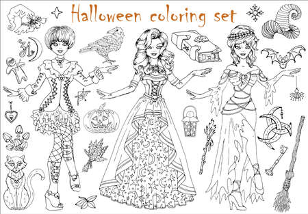 Halloween coloring set with beautiful witch girls in costumes, mystic animals and scary objects. Hand drawn vector illustration for coloring. Doodle black and white clip art collection