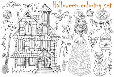 Halloween coloring set with beautiful witch girl in costume, house, cat, pot and scary objects. Hand drawn vector illustration for coloring. Doodle black and white clip art collection Иллюстрация