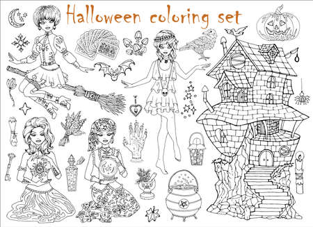 Halloween coloring set with beautiful witch girls in gipsy and gothic costumes, scary house and objects. Hand drawn vector illustration for coloring. Doodle black and white clip art collection