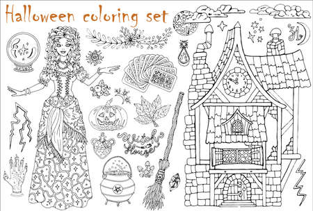Halloween coloring set with beautiful witch girl whearing medieval gipsy costume, tarot cards, pumpkin, broom. Hand drawn vector illustration for coloring. Doodle black and white clip art collection